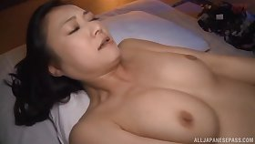 Lifelike lovemaking on the bed with gorgeous Japanese Nagasawa