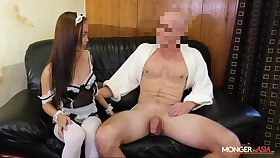 Asian housewife in sexy unvaried Karen gives her head and gets fucked
