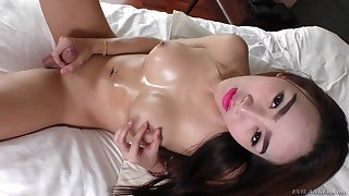 Smoking hot solo Asian tranny strokes her dick sensually