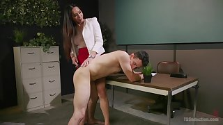 Busty Asian shemale Amanda Jade gets ass licked and fucks a dude