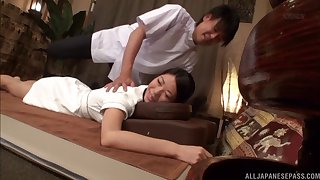 Sensual massage leads Sakurai to the much-wanted threesome banging