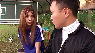 Sporty Japanese soccer girl fucks her coach outdoors