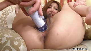 Giggling Jap housewife gets say no to unshaved pussy teased with toy