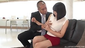 Hot Japanese can't wait encircling sit on a stranger's penis with her cunt