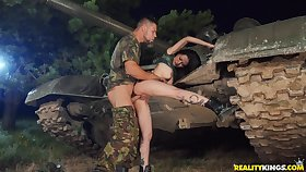 Asian stunner tries solider's huge dick for a rough play