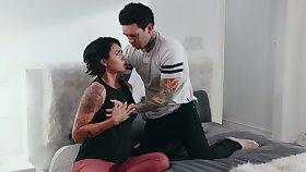 Tattooed coxcomb bangs sex-appeal housewife Dana Vespoli and cums on her ass