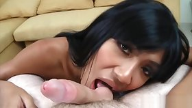 Ladyboy Narnia Gives Blowjob Coupled with Rides Raw Dick