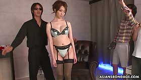 Shibari Japanese girls Izumi Tachibana is fucked and jizzed unconnected with several guys