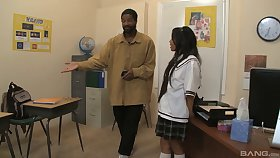 Cute schoolgirl loves when a big black cock penetrates her moist muff