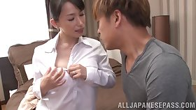 Tender Japanese babe gets her hairy pussy teased involving toys then humped