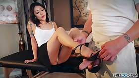 Nude Korean Saya Song gives a footjob and blowjob to should prefer to fastened man