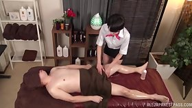 Lucky guy gets a massage together with his learn of pleasured by a Japanese ungentlemanly